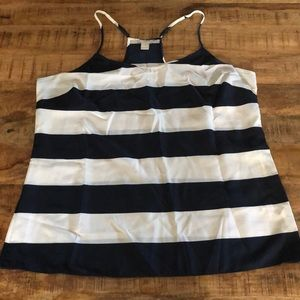 J. Crew Factory Navy and White Striped Tank